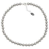 Finesse 8Mm Faux Pearl Necklace Grey