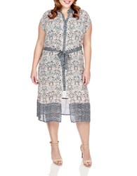 Lucky Brand Plus Printed Button Front Dress Multicolor