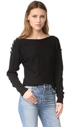 Ramy Brook Debra Lace Up Sweater Black