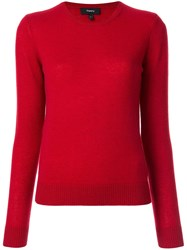 Theory Round Neck Jumper Red
