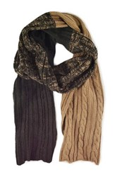 Muk Luks Colorblock Cable Scarf Brown