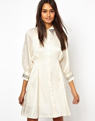 Jovonna Vintage Style Shirt Dress Cream
