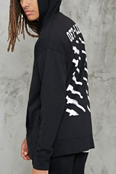 Forever 21 Off Line Graphic Zip Hoodie Black White