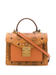 Mcm Patricia Small Studded Satchel Brown