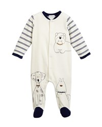Mayoral Sketched Doggies Embroidered Footie Pajamas Size 1 9 Months Blue