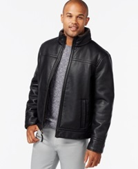 Calvin Klein Faux Leather Faux Shearling Jacket Black