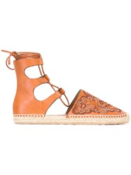 Red Valentino Studded Hummingbird Espadrilles Brown