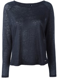 Woolrich Long Sleeve Top Women Linen Flax S Blue