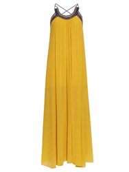 Roberto Cavalli Pleated Cross Back Silk Georgette Dress Yellow