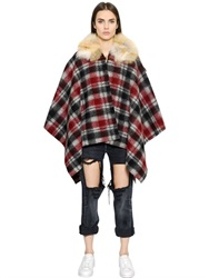 Forte Couture Plaid Virgin Wool Cape With Fox Collar