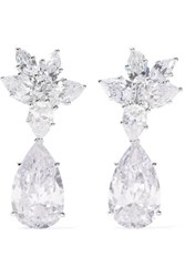 Kenneth Jay Lane Rhodium Plated Cubic Zirconia Clip Earrings Silver