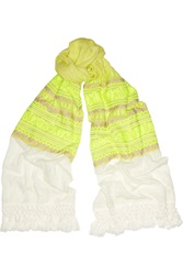 J.Crew Jordan Neon Embroidered Cotton Gauze Scarf