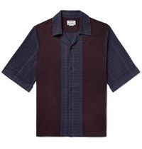 Acne Studios Camp Collar Panelled Cotton Flannel Shirt Navy