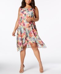 Robbie Bee Plus Size Floral Print Shift Dress Coral Multi