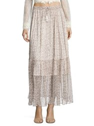 Zimmermann Cavalier Gathered Silk Skirt Ivory Ditsy
