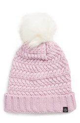 Treasure And Bond Cable Knit Beanie With Faux Fur Pom Pink Pink Bouquet