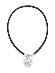 Judith Ripka Fontaine White Sapphire And Sterling Silver Heart Pendant Necklace Black