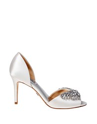 Badgley Mischka Candance Satin Open Toe Pumps White