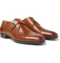 Hugo Boss Cap Toe Leather Monk Strap Shoes Brown