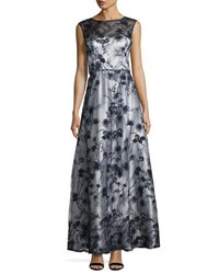 Lm Collection Embellished Illusion Flare Gown Blue White