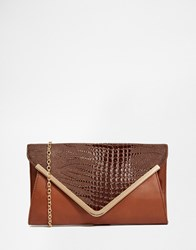 Yoki Fashion Envelope Clutch Bag With Mock Croc Detail Brown