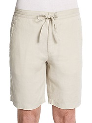 Saks Fifth Avenue Blue Drawstring Linen Shorts