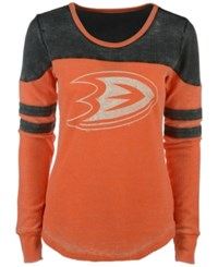 G3 Sports Women's Anaheim Ducks Hat Trick Thermal Long Sleeve T Shirt Orange Black