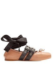 Miu Miu Buckle Fastening Leather Ballet Flats Nude