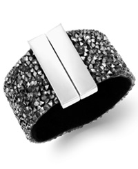 Inc International Concepts Silver Tone Hematite Stone Wide Bangle Bracelet