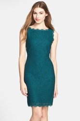 Adrianna Papell Boatneck Lace Sheath Dress Regular And Petite Green