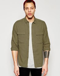 Asos Khaki Military Shirt In Regular Fit Linen Mix With Long Sleeves Khaki Green
