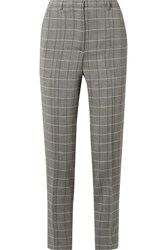 Akris Colin Checked Wool Slim Leg Pants Gray