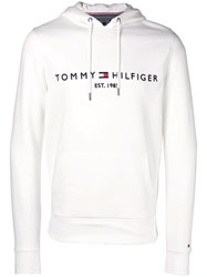Tommy Hilfiger Logo Embroidered Hoodie White