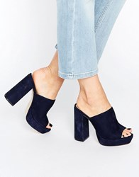 Office Syrup Navy Suede Platform Heeled Mules Navy Suede
