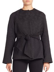 Josie Natori Dragon Jacquard Wrap Jacket Black