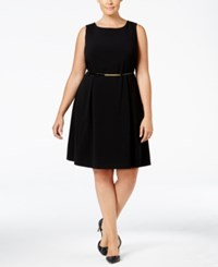 Nine West Plus Size Belted Fit And Flare Dress Black