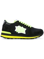 Atlantic Stars Neon Star Patch Sneakers Women Leather Polyester Rubber 37 Black