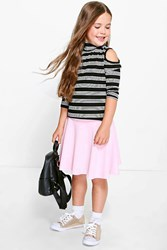 Boohoo Mix And Match Skater Skirt Pink