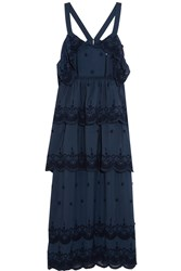 Self Portrait Tiered Broderie Anglaise Trimmed Crepe Maxi Dress Navy