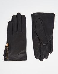 Asos Leather Gloves With Zip And Touch Screen Black