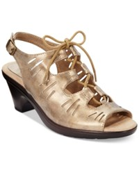 Easy Street Shoes Easy Street Kitt Lace Up Dress Sandals Women's Shoes Bronze
