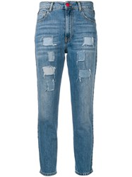 History Repeats Side Stripe Cropped Jeans Blue