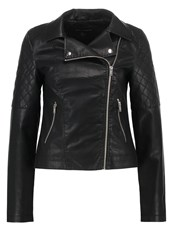 Dorothy Perkins Diamond Faux Leather Jacket Black