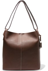 Michael Kors Collection Slouchy Hobo Textured Leather Shoulder Bag Chocolate