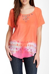 Hale Bob Short Sleeve Silk Blend Top Pink