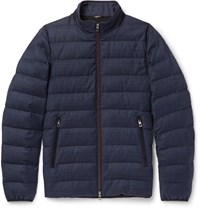 Loro Piana Gateway Quilted Rain System Wool And Silk Blend Down Jacket Blue