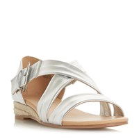 Head Over Heels Kylaa Cross Strap Mini Wedge Sandals Silver