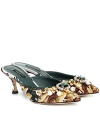 Dolce And Gabbana Embellished Jacquard Mules Multicoloured