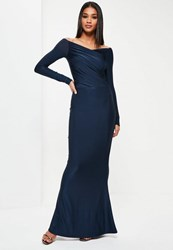 Missguided Navy Slinky Bardot Long Sleeve Maxi Dress