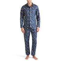 Maison Marcy Magritte Micro Basket Weave Cotton Slim Pajama Set Navy